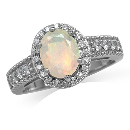 Genuine Opal White Gold Plated 925 Sterling Silver Engagement Ring Size 7 ()