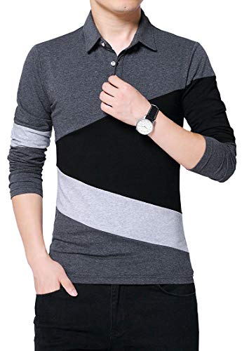 FRTCV Men Long Sleeve Polos Casual Cotton Rugby Golf Shirts US L/Asian 3XL Dark Gray 1281