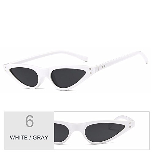 de White pequeño sol gafas anteojos Vintage de Sunglasses bastidor Ojo TL de Gray de Gafas Gato negro mujeres UV400 azul wRCqvnUW