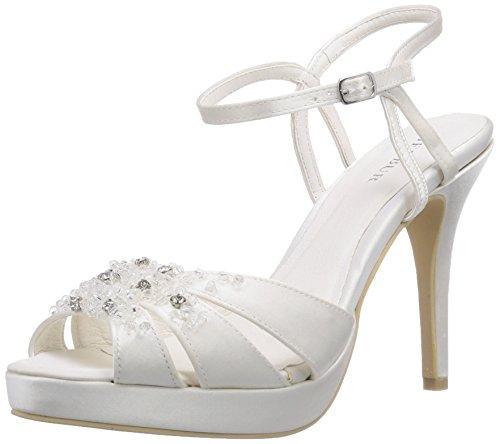 Menbur Wedding Mia - sandalias con cierre al tobillo de raso mujer marfil - Elfenbein (Ivory 04)
