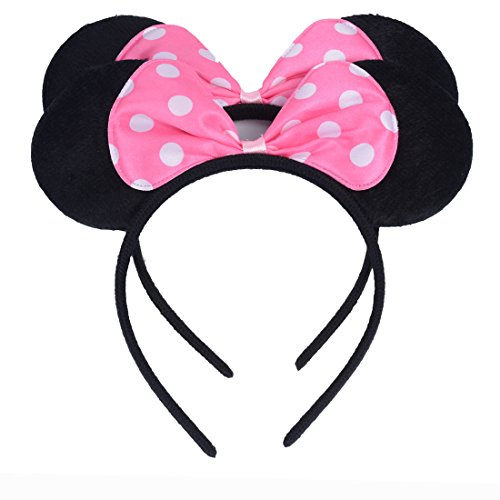 Set of 2 Mickey Minnie Mouse Ears Headband Boys and Girls Birthday Party Mom Hairs Accessories Baby Shower Headwear Halloween Party Decorations Costume Deluxe Fabric Ears with Dots Bow (Pink)]()