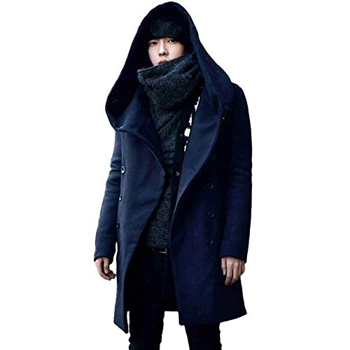 GOVOW Mens Hood Jacket Special Warm Overcoat Outwear Padded Hooded Down Winter Coat(US:4/CN:L,Navy) (Italian Genuine Stone Leather Coat)
