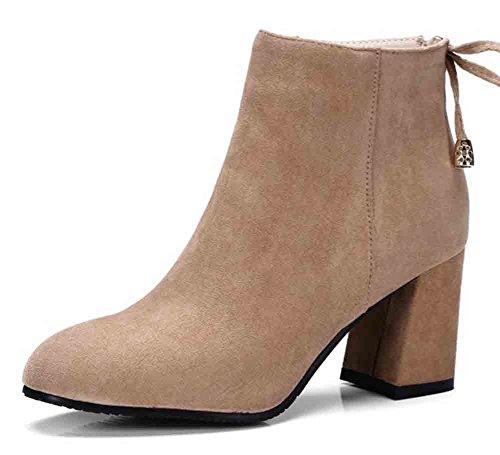 Easemax Kvinna Eleganta Bowknot Oversize Fyrkantig Tå Dragkedja Mittsegment Hälen Boots Aprikos