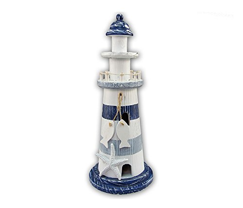 Puzzled CoTa Global Large White & Blue Stripes Lighthouse w/Fish & Starfish Nautical Marine Decor 4.5
