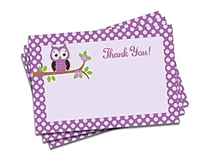 Amazon Purple Owl Thank You Cards And Envelopes Thick Card