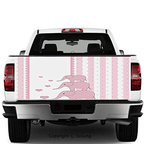- SoSung Elephant Nursery Decor Vinyl Wall Stickers,Vertical Striped Backdrop Cute Pink Animals with Hearts Retro Cars Trucks Decorative Decal Sticker,60x20 Inches,Light Pink White