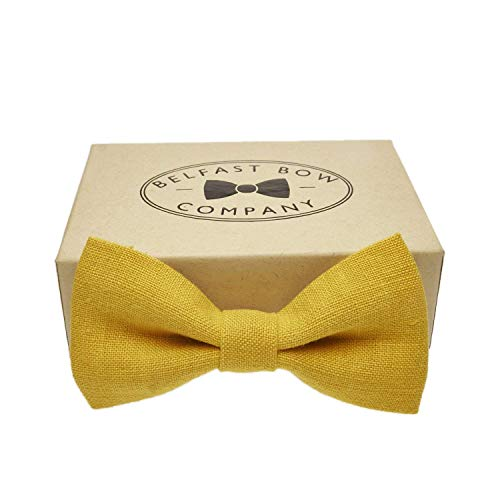 dea7089ac05a Irish Linen Bow Tie in Mustard Yellow - Adult & Junior sizes available:  Amazon.co.uk: Handmade