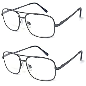 V.W.E. 2 Pairs Metal Frame Aviator No Line Progressive Clear Lens Spring Hinge Reading Glasses (Gunmetal, 1.75)