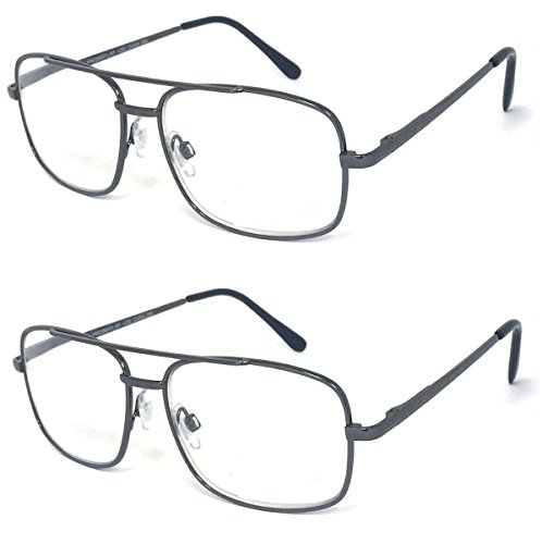 V.W.E. 2 Pairs Metal Frame Aviator No Line Progressive Clear Lens Spring Hinge Reading Glasses (Gunmetal, - Lowest Reading Power Glasses