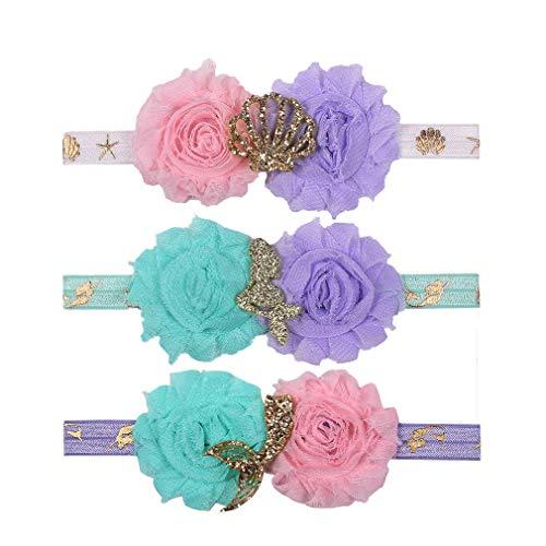 (YanJie Mermaid Shabby Chiffon Flower Glitter FOE Print Headband 3pcs/pack )