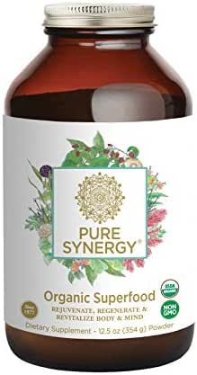 Pure Synergy USDA Organic Green Superfood (12.5 oz Powder) 60+ Greens, Veggies, Herbs for Energy & Wellness