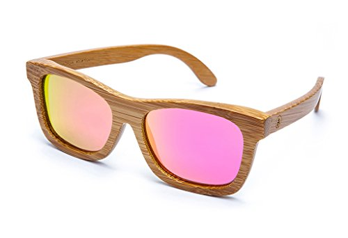 Tree Tribe Polarized Bamboo Sunglasses with Hard Case - Original Floating Wayfarer Style with Mirror Pink - Sunglasses Brands World Best