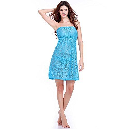 SHISHANG falda del pecho falda de la playa de las mujeres de Europa y los Estados Unidos fue nueva tendencia de los vestidos de verano delgada sujetador de encaje envuelto multicolor Blue