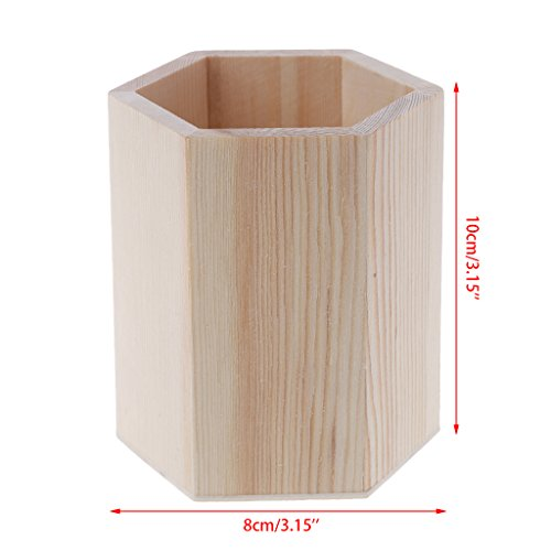 BecauseOf Wooden Desk Organizer Pencil Pen Holder Box Kids DIY Coloring Case Clay Tools (Hexagon)