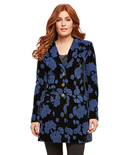 Joe Browns Womens Velvet Fully Lined Oversized Coat Black/Blue A 4