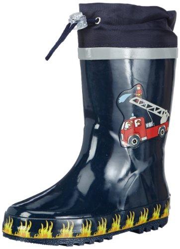 Playshoes Fireman Collection Rubber Rain Boots (2 M US Little - Kids Rubber Fireman Boots