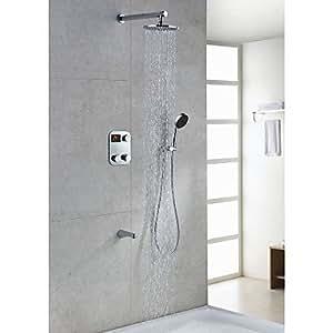 Grifo de la ducha termost tica lcd moderna con 8 pulgadas for Duchas electricas modernas