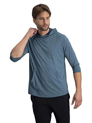 3/4 Sleeve Lightweight Hoodie Men - Dry Fit Workout Hoodies for Gym and Running Navy Blue