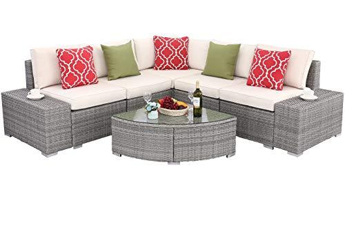 Do4U 6 PCs Outdoor Patio PE Rattan Wicker Sofa Sectional Furniture Set Conversation Set- Thick S ...