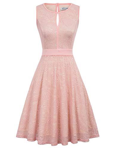 Lace Tea Dress - Women's Bridesmaid Vintage Tea Dress Floral Lace Cocktail Formal Swing Dress Size M Blush KK1247-3