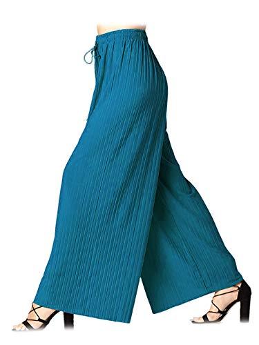 Design by Olivia Women's Elastic Waist Chiffon Loose Pleated Wide Leg Palazzo Overlay Pants/Capri/Skirt Teal ONE