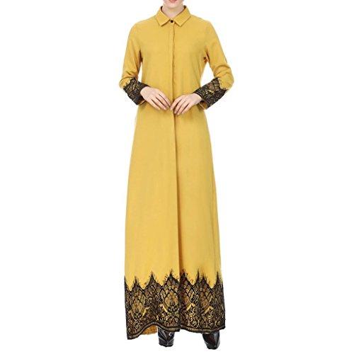 (Toponly Muslim Women Long Turndown Lace Trimmed Front Maxi Kimono Cardigan)