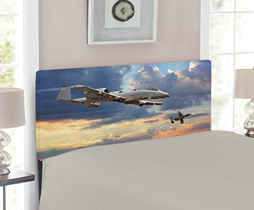 - Ambesonne Airplane Headboard for Twin Size Bed, Peacekeepers Mission Jet Up International Flight Picture Aviation Theme Image, Upholstered Decorative Metal Headboard with Memory Foam, Blue Silver