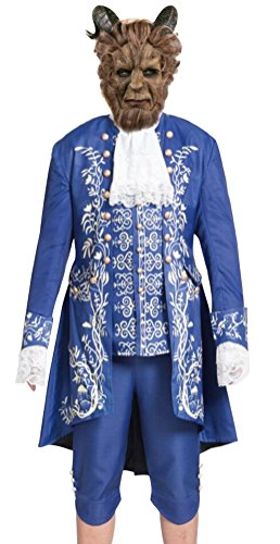 Beast Cosplay Costume and Mask for Men Adult Halloween Party Prince Deluxe Dress (Only Dress-L)