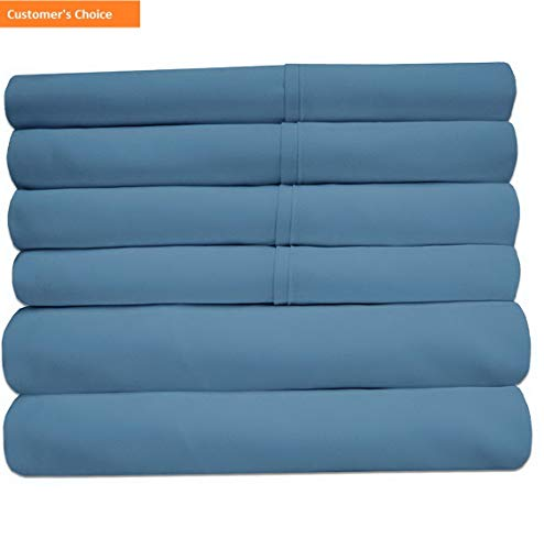 Mikash New Soft Queen Sheets Denim - 6 Piece 1500 Thread Count Fine Brushed Microfiber Deep Pocket Queen Sheet Set Bedding - 2 Extra Pillow Cases, Great Value, Queen, Denim | Style 84596575