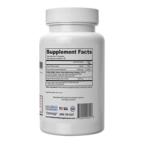 Superior Labs – VasoWORx® – Powerful Nitric Oxide Dietary Supplement – 4,600 mg, 180 Vegetable Capsules – 7 Powerful Ingredients – Increased Energy, Stamina and Muscle Growth – Fat Loss and Cardio