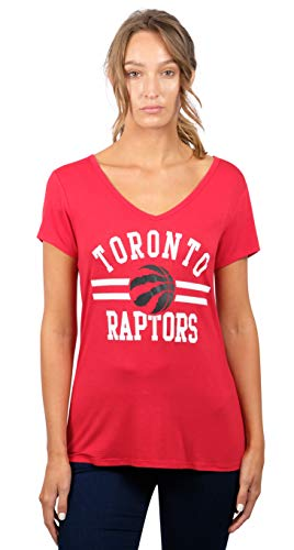 NBA Toronto Raptors Women's T-Shirt Relaxed Short Sleeve Tee Shirt, Medium, Red