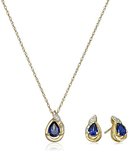 18K Yellow Gold over Sterling Silver Created Blue Sapphire Pear with Created White Sapphire Earrings and Pendant Neckalce Box Set,18