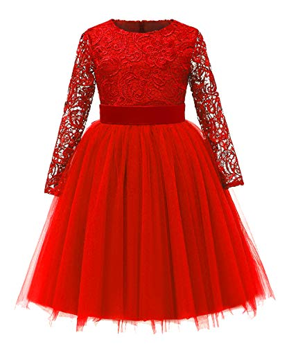 (Flower Girl Dress Long Sleeves Lace Top Tulle Skirt Kids First Communion Gowns (Size 12,)
