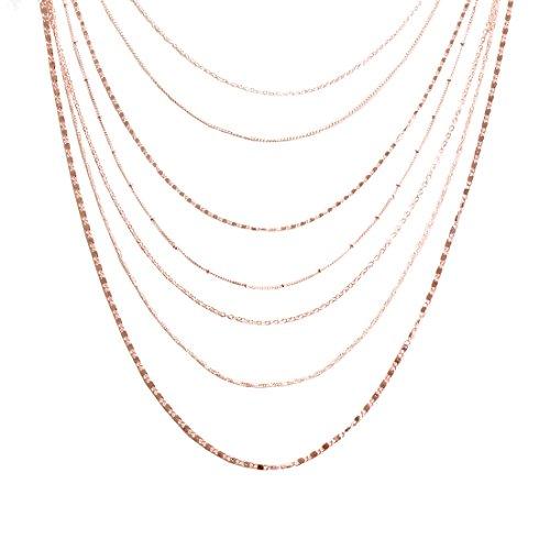 ELEARD Women Multi Chain Layered Necklace Waterfall Multi Strand Jewel Chain Tassel Necklace (Rose Gold)