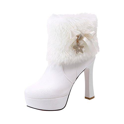 Bedel Voet Dames Faux Fur Platform Hoge Hak Snowboots Wit