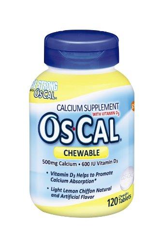 Os-Cal жевательные Кальций 500 + 600iu D3, лимон шифон вкус, 120 Жевательные таблетки