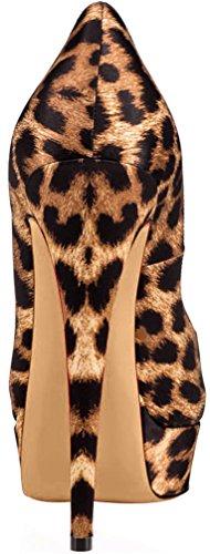 Trusify Mujer 15cm EU tamaño 34-46 Truthunder Tacón de aguja 15CM Sintético Sandalias de vestir Negro Leopard