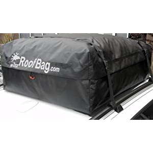 RoofBag 100% Waterproof Carrier - Made in USA - Works on ALL Vehicles: For Cars With Side Rails, Cross Bars or No Rack -Cross Country Soft Car Top Cargo Carrier