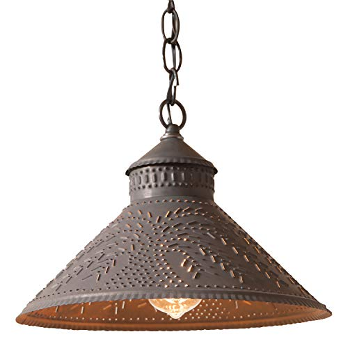 (Stockbridge Shade Light Pendant with Willow in Blackened Punched Tin)