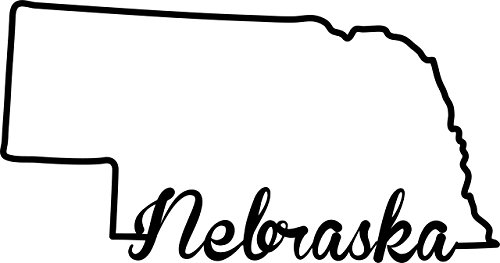 ND343 State Of Nebraska Script Decal Sticker | 5.5-Inches By 2.7-Inches | Premium Quality Black Vinyl -