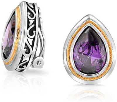Bling Jewelry Simulated Amethyst CZ Pear Clip On Earrings Rhodium Plated