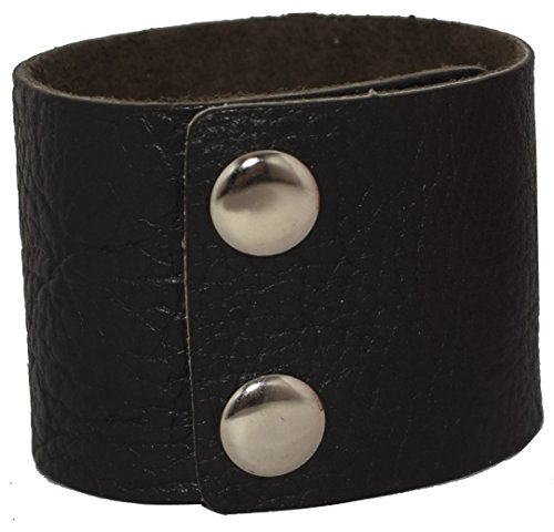 AZYOUNG Men's Black Brown White 5cm Wide Leather Bracelet Two Rows of Buckles Wristband Cuff Bangle,Length:23cm (Black) ()