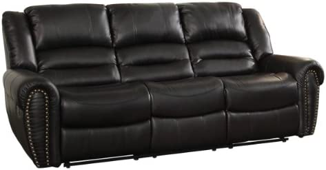 Homelegance Center Hill 90 Bonded Leather Double Reclining Sofa , Black