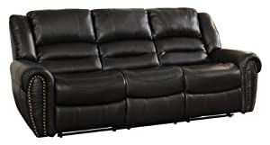 Lighter black 3 seater recliner with padded cushions