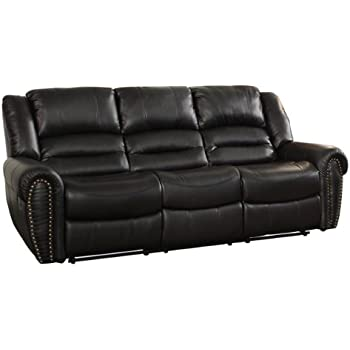 Homelegance 9668BLK-3 Double Reclining Sofa Black Bonded Leather  sc 1 st  Amazon.com : double recliner couch - islam-shia.org