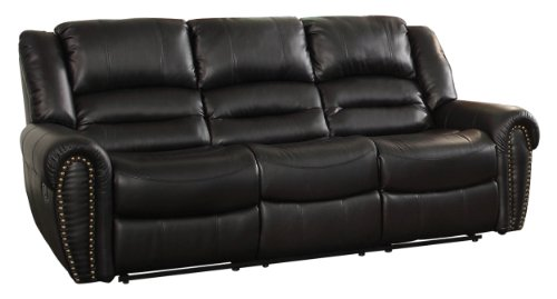 Homelegance 9668BLK-3 Double Reclining Sofa, Black Bonded Leather Bonded Leather Sofas