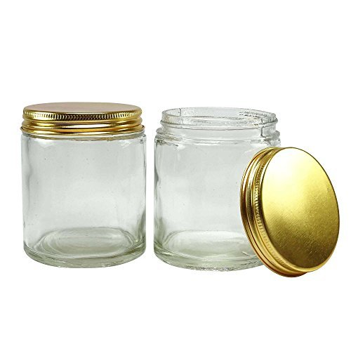 2 pcs clear glass jar with golden cap mason jars refillable cosmetic containers wholesale. Black Bedroom Furniture Sets. Home Design Ideas