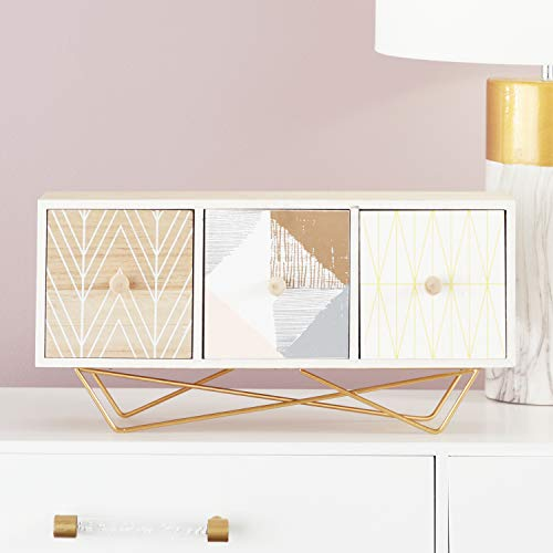 CosmoLiving by Cosmopolitan 85269 Large Rectangular Wood Jewelry Box w/ 3 Drawers, Metallic Gold Legs & Boho Patterns | 19