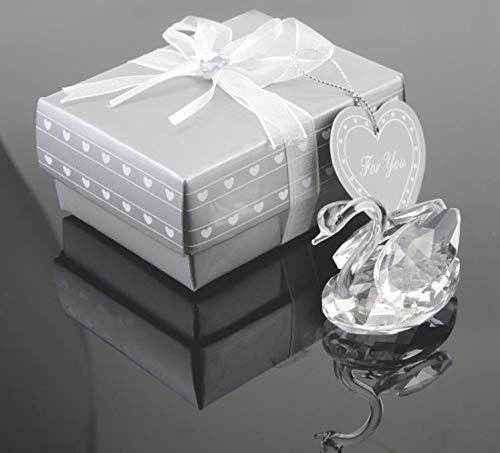 Favor Wedding – 50pc Wedding Anniversary Gifts Party Centerpieces Guest Souvenirs Crystal Swan Favor – Boxes Gift
