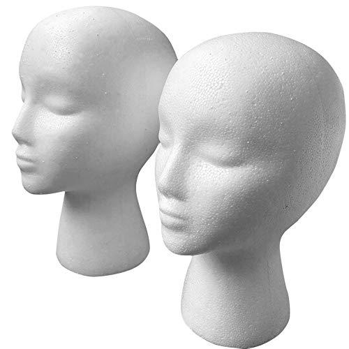 camillia-de Men Male Women Lightweight Smooth Mannequin Head Model Wig Hat Glasses Caps Display Bubble Mannequin Head White